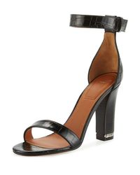 Givenchy | Black Chain Crocodile-embossed 105mm Sandal | Lyst