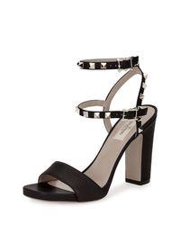Valentino - Black Rockstud 100mm Chunky-heel Sandal - Lyst