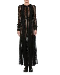 Valentino | Black Long-sleeve Embroidered Chiffon Gown | Lyst