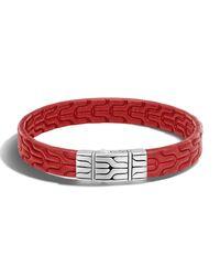 John Hardy - Red Classic Chain Men's Leather Bracelet for Men - Lyst
