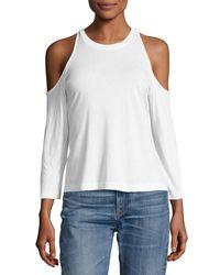 Splendid - White Cold-shoulder 3/4-sleeve Tee - Lyst