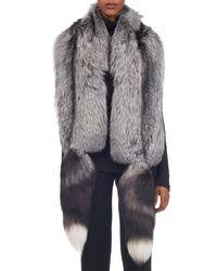 Oscar de la Renta - Gray Silver Fox Stole W/ Tails - Lyst