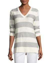 Neiman Marcus - Gray 3/4-sleeve Sequin Striped V-neck Pullover - Lyst