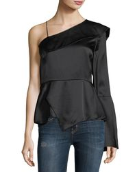 Parker - Black Cache One-sleeve Silk Blouse - Lyst