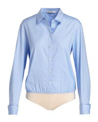 Tibi - Blue Long-sleeve Oxford Shirting Bodysuit - Lyst
