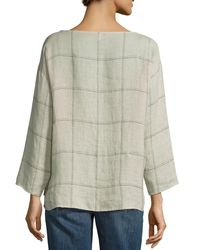 Eileen Fisher - Natural Rustic Windowpane Linen Box Top - Lyst