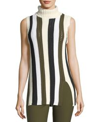 10 Crosby Derek Lam - Green Sleeveless Striped Knit Turtleneck Sweater - Lyst