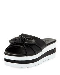 MICHAEL Michael Kors - Black Pippa Platform Slide Sandal With Bow - Lyst