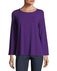 Eileen Fisher - Purple Viscose Jersey Long-sleeve Top - Lyst