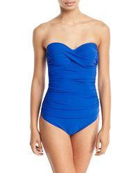 Gottex - Blue Tutti Frutti Bandeau Underwire One-piece Swimsuit - D Cup - Lyst