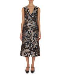 Erdem - Black Kamila Paisley Floral A-line Dress - Lyst