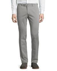 Loro Piana - Gray Soft Stretch-cotton Slim-fit Pants for Men - Lyst