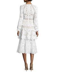 Oscar de la Renta - White Long-sleeve Macrame Midi Dress - Lyst
