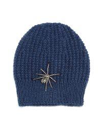 Jennifer Behr - Blue Crystal Spider Knit Beanie Hat - Lyst