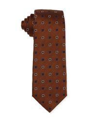 Isaia - Blue Diamond-box Silk-cotton Tie for Men - Lyst