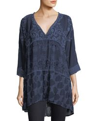 Johnny Was - Blue Monrow V-neck Tiered Georgette Tunic - Lyst