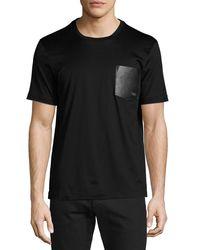 Ferragamo - Black Men's Gancini Leather-pocket T-shirt for Men - Lyst
