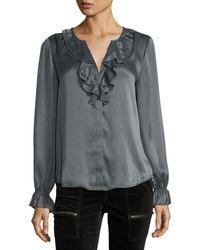Joie - Gray Jayanne B Ruffled Long Sleeve Silk Blouse - Lyst