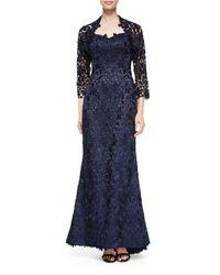 Helen Morley - Blue Strapless Lace Gown W/ Bolero - Lyst