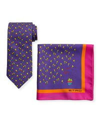 Etro - Purple Ladybugs Boxed Tie & Pocket Square Set for Men - Lyst