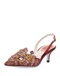 Rene Caovilla - Pink Multi-lace Embellished Slingback Pumps - Lyst