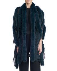 Gorski - Blue Fox Fur And Lace Shawl - Lyst