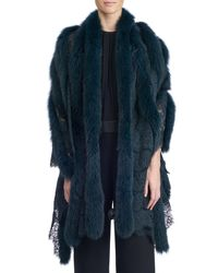 Gorski - Red Fox Fur And Lace Shawl - Lyst