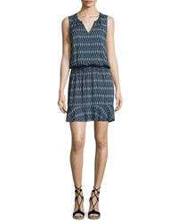 Soft Joie - Blue Zealana Split-neck Sleeveless Mini Dress - Lyst