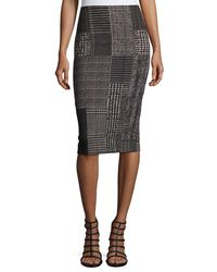 Fuzzi - Black Check-print Pencil Skirt - Lyst