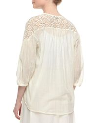 Christophe Sauvat - Natural 3/4 Slv Off White Lace Top - Lyst