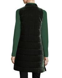 Eileen Fisher Black Long Quilted Velvet Vest
