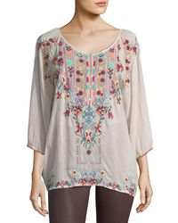 Johnny Was - Pink Dolora Embroidered Georgette Blouse - Lyst