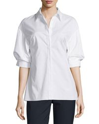 3.1 Phillip Lim - White Poplin Puffed-sleeve Top - Lyst
