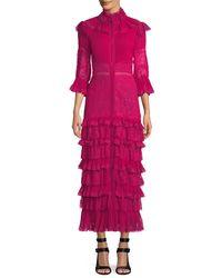 Alice + Olivia - Pink Carmina Pleated Lace Ruffle Midi Dress - Lyst