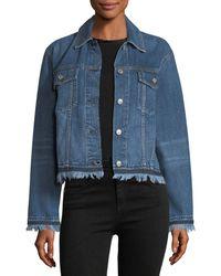 Rag & Bone | Blue Oversized Button-front Denim Jacket W/ Fringed Hem | Lyst