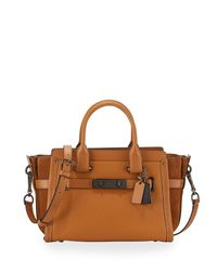 COACH - Brown Swagger 27 Leather Satchel Bag - Lyst