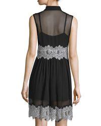 McQ Alexander McQueen - Black Sleeveless Collared Silk Dress - Lyst