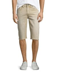 True Religion - Natural Geno Overdye Active Slim-fit Denim Shorts for Men - Lyst