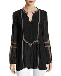 Tolani - Black Lani Long-sleeve Tunic W/ Contrast Embroidery - Lyst