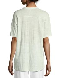 Eileen Fisher - Multicolor Short-sleeve Button-front Linen Jersey Top - Lyst