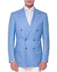 Stefano Ricci | Blue Tonal-stripe Double-breasted Sport Coat for Men | Lyst