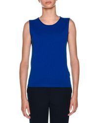Agnona - Blue Crewneck Sleeveless Cashmere Knit Tank - Lyst