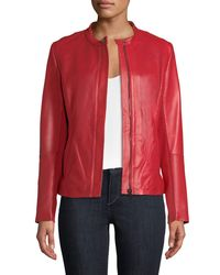 Neiman Marcus - Red Perforated Zip-front Leather Jacket - Lyst