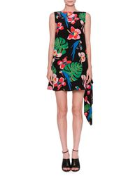 Valentino - Multicolor Tropical-print Draped-back Dress - Lyst