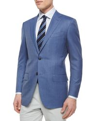 Ermenegildo Zegna - Blue Micro-check Wool Blazer for Men - Lyst