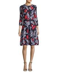 Carolina Herrera - Multicolor Floral Knit Elbow-sleeve Dress - Lyst