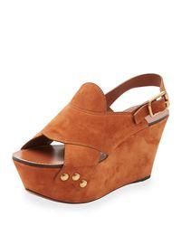 Chloé - Brown Suede Slingback Platform Sandal - Lyst