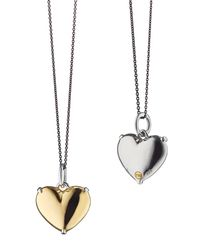 Monica Rich Kosann - Metallic 18k Yellow Gold And Sterling Silver Heart Necklace - Lyst