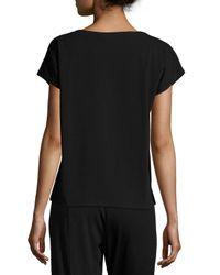Eileen Fisher - Black Short-sleeve Bateau-neck Jersey Top - Lyst