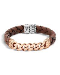 John Hardy - Metallic Classic Chain Men's Bracelet With Leather Strap for Men - Lyst